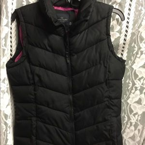 Pink and black puffer vest